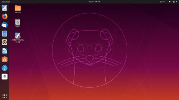 Ubuntu 19.10 Eoan Ermine sürümünden masaüstü görüntüsü